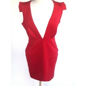 Xtaren Red Deep V-Neck Mini Dress with open Back L